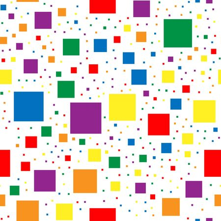 Seamless pattern with squares in colors  . Colorful rainbow pixels of different sizes on a white background.