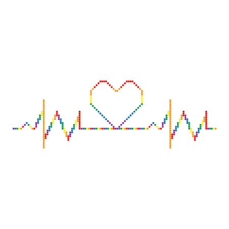 Pixel rainbow cardiogram with heart. Colorful vector symbol of lesbian, love with rainbow flag. Pride month concept