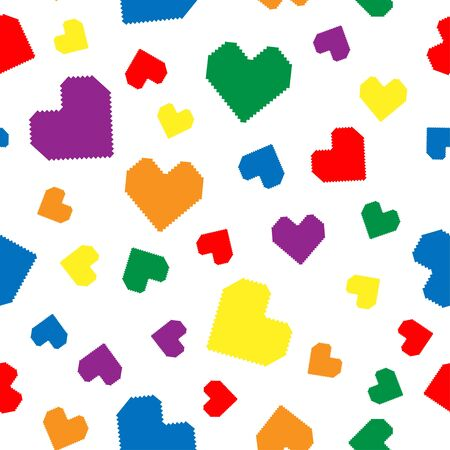 Seamless pattern with hearts in colors . Pixel illustration.