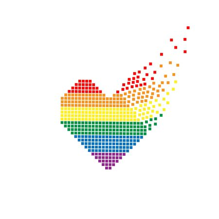 Pixel heart with flying pixels on an edge in colors of LGBT flag. Colorful vector symbol of gay, lesbian, love with rainbow flag. Pride month concept