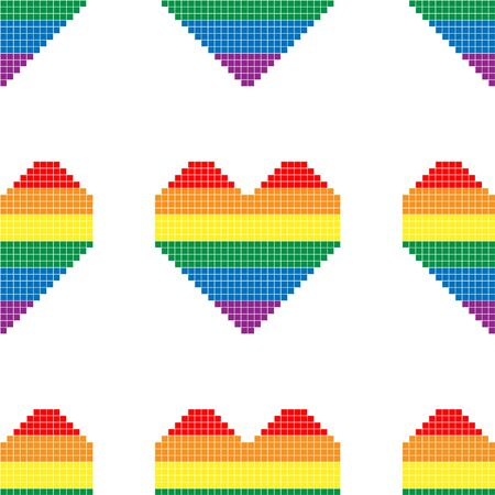 Seamless pattern with hearts in colors of LGBT flag. Pixel illustration. Colorful rainbow vector symbol of gay, lesbian, transgender love on a white background. Pride month concept.