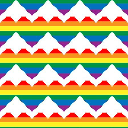 Seamless pattern with hearts in colors of LGBT flag. Pixel illustration. Colorful rainbow vector symbol of gay, lesbian, transgender love on a white background. Pride month concept. 写真素材 - 148124156