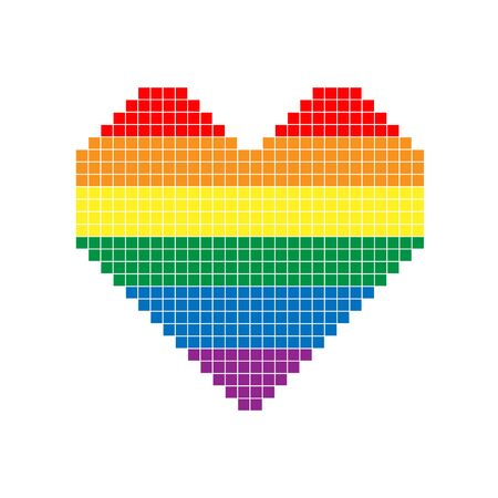 Pixel heart in colors of LGBT flag. Colorful vector symbol of gay, lesbian, transgender love with rainbow lgbt flag. Pride month concept