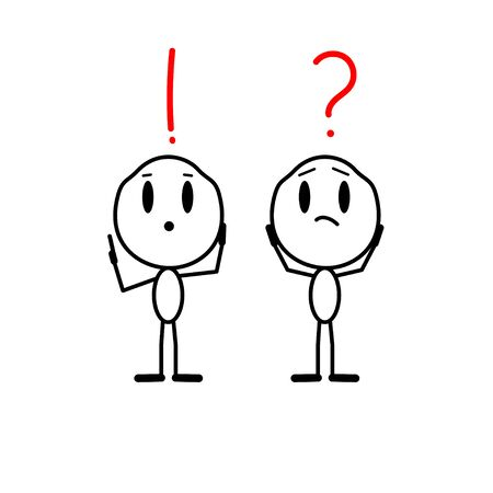 Vector human with a question mark over his head. Cartoon man with a exclamation mark over him.Problem solving concept, creative idea. Character is thinking.