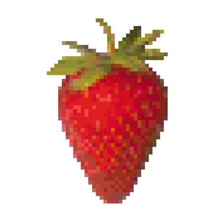 Pixel graphic strawberry, tasty sweet berry. 8 bit. Vector illustration.  イラスト・ベクター素材