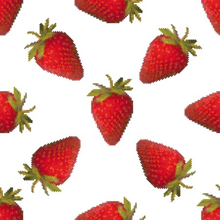 Strawberry seamless pattern on a white background. Tasty sweet berry. Pixel Graphics. 8 bit .Vector illustration.