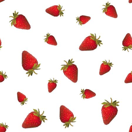 Strawberry seamless pattern on a white background. Tasty sweet berry. Pixel Graphics. 8 bit .Vector illustration. 写真素材 - 149129435