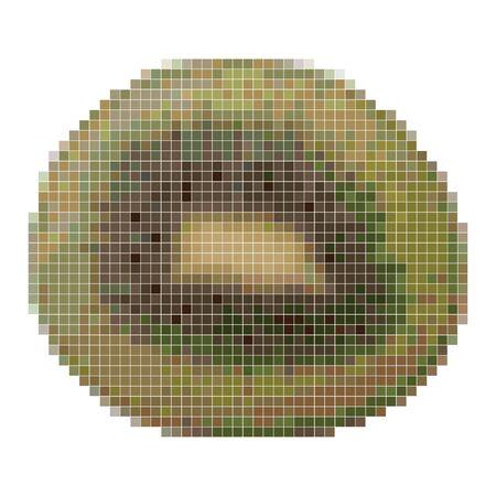 Pixel graphic slice of kiwi, tropical fruit. 8 bit. Vector illustration 写真素材 - 148362719