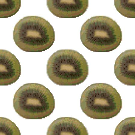 Kiwi seamless pattern on a white background. Pixel Graphics, tropical fruit. 8 bit .Vector illustration  イラスト・ベクター素材