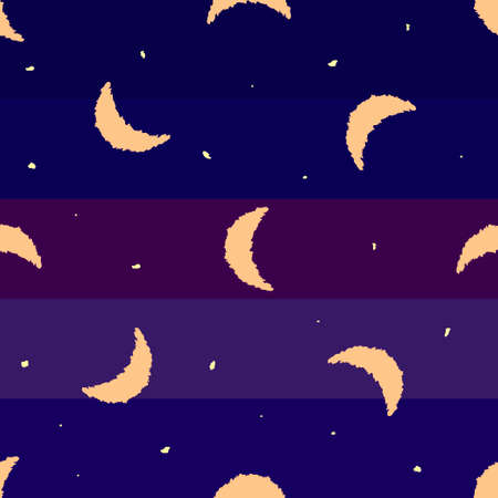 Seamless background with month and stars. Night, vector illustration.