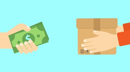 Han holding dollar bill. Delivery man hold box. Transportations concept. Shopping online. Digital marketing. Payment concept. Çizim