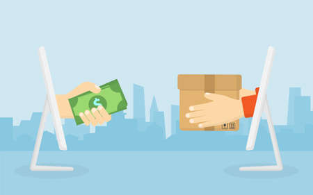 Hand holding dollar bill. Delivery man holding box out from computer screen. City background. Digital marketing. Business and finance concept. Transportations concept.