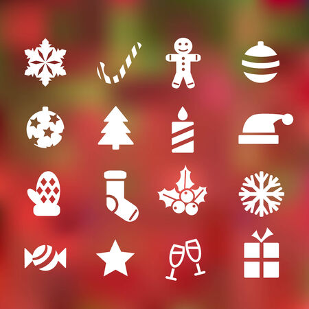 holiday cookies: set of 16 christmas flat icons on abstract background Illustration