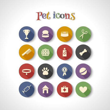 can food: set of 16 flat icons with long shadows. Dog, pet, vet.
