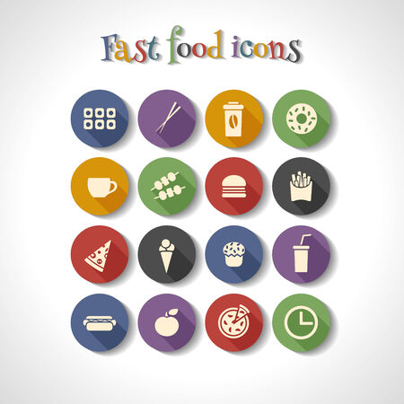 american food: set of fast food flat icons with long shadow