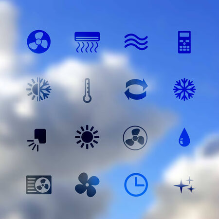 clean air: set of ventilation and conditioning system flat icons