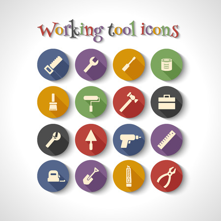 turn screw: Vector set of 16 flat working tools icons with long shadows. Illustration