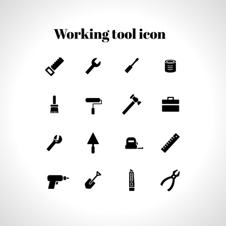 turn screw: Vector set of 16 flat working tools icons