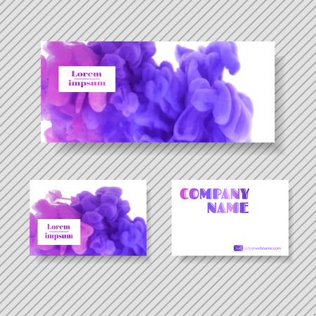 swirling: Set of banner, design templates for your company (colorful ink in water) Illustration