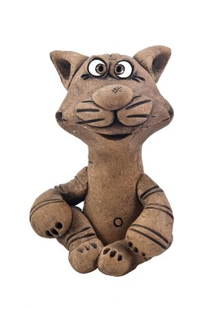 red clay: figurine of sitting  cat from red clay