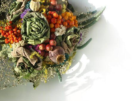 dried flower arrangement: Autumnal dried bouquet Soft color floral arrangement.  Stock Photo