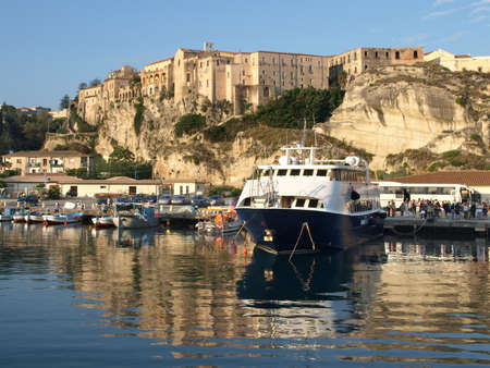 Harbor in Tropea, Calabria, Italy. Stock Photo