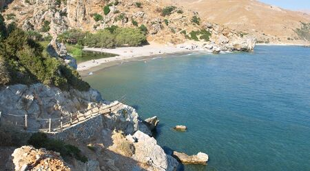 Famous beach of Preveli, southern Crete, Prefecture Rethymnon.