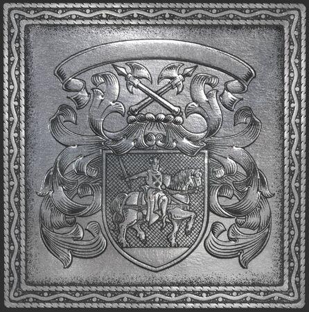 Retro heraldry - decorative crest with empty label.  Stock Photo