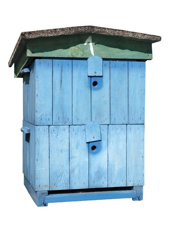 bee hive ...traditional, painted blue.