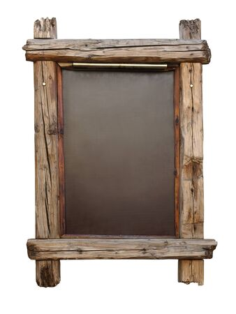 Blank chalkboard with wooden aged frame photo