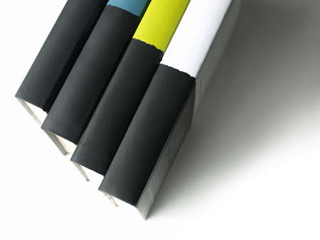 book spine: Row of books with clean spines