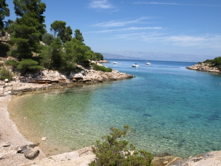 Idyllic adriatic bay  Hvar Island, Dalmatia, Croatia  Stock Photo