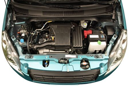 bonnet up: Compact car engine