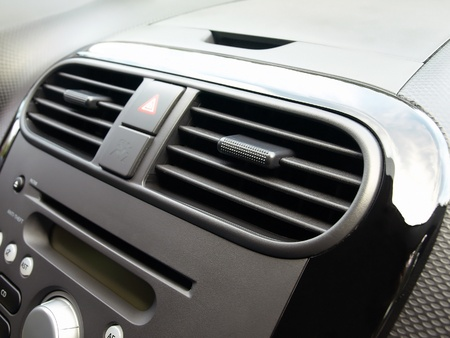 Compact car air conditioner Stock Photo