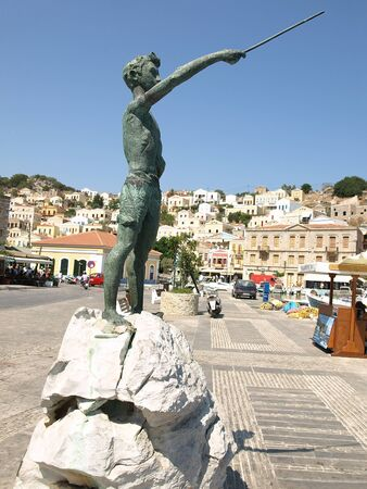 Monument to sponge divers - island of Symi, Greece