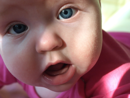0 6 months:  Charming portrait of five month old baby