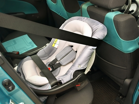 A rear-facing infant seat