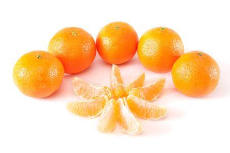 mandarins: mandarins on a white background