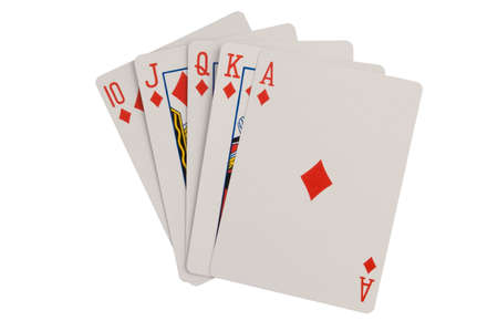 Royal flush playing cards isolated on a white background