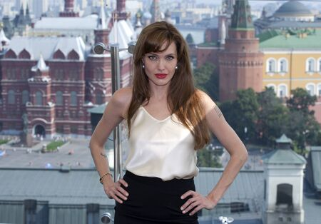Actress Angelina Jolie at the premiere of the movie Salt at the Ritz Hotel. July 25, 2010 in Moscow, Russia.MOSCOW - JULY 25: Actress Angelina Jolie at the premiere of the movie Salt at the Ritz Hotel. July 25, 2010 in Moscow, Russia. Editorial