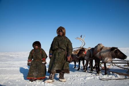 loin: Nenets famille - p�re et fils - les �leveurs de rennes. Le Grand Nord, la Russie