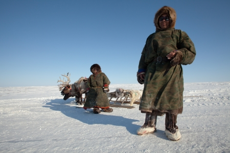 Nenets family - father and son - the reindeer herders. The Far North, Russia Editorial