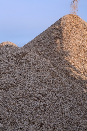 The mountain wood chips is replenished