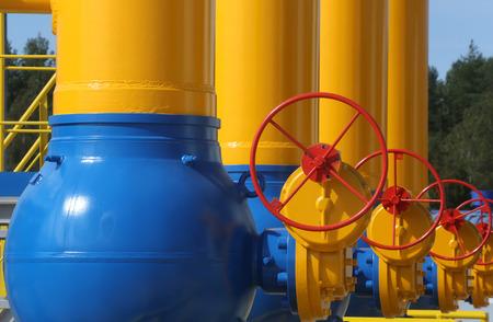 Elements of  the equipment of modern compressor station Standard-Bild