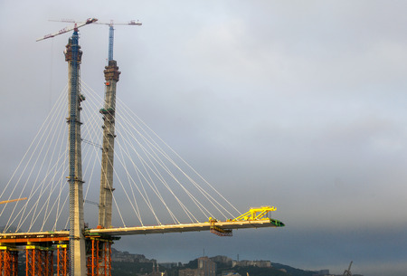 The construction of the air escape bridge Standard-Bild