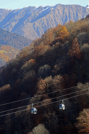 Cableway in the mountains in autumn