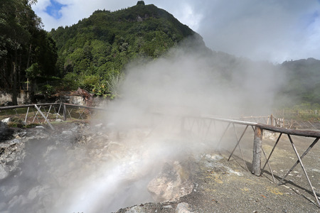 Furnas fumaroles, hot water spring in San Miguel (Sao Miguel), Azores