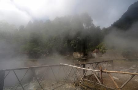 fissures: Furnas fumaroles, hot water spring in San Miguel (Sao Miguel), Azores