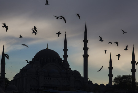 Istanbul. Birds fly above the ancient mosque in the troubled night sky Stock fotó