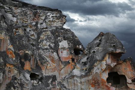 Ancient cave town in the area of Goreme. Cappadocia Turkey Standard-Bild
